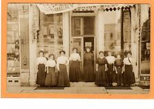 Real Photo Postcard RPPC - Nine Women in Front of Millinery Hat Shop - Milliner