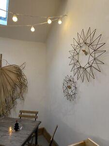 NKUKU // Talini Wreath // Antique Brass metal geometric wall hanging // V Large