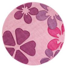 Kinderteppich rund 120cm Kurzflor Spielteppich Girl Spielzimmer Blumen Rosa Pink