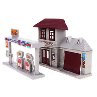 1:87 Train HO Scale Gas Station & Fire Department Model Building Kits Scenery!