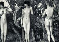 Die Hesperiden XXL Kunstdruck 1906 von Karl Marr weiblicher Akt Nymphen Mädchen