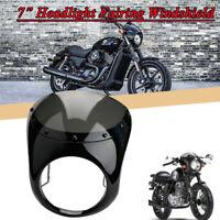 Motorrad Scheinwerfer Verkleidung KIT mit Windschutzscheibe Schwarz für Harley