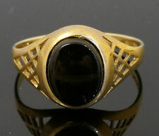 9Carat Yellow Gold Oval Onyx Signet Ring (Size U) 8x10mm Head