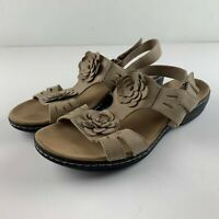 Clarks Collection Women US 12 Wide Nude Leather Sandals Open Toe Shoe Floral