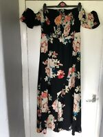 New Look Black/Multi Floral Shirred Bardot Top Frill Sleeve Midaxi Dress Size 18