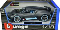 BUGATTI DIVO MATT GRAY WITH BLUE ACCENTS 1:18 DIECAST MODEL CAR BY BBURAGO 11045