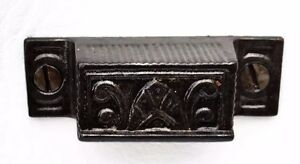 Iron Victorian Eastlake Antique Farmhouse Hardware Cupboard Catch Drawer Pull