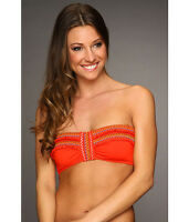 bc9877cffc33b LUCKY BRAND FIESTA FEVER STRAPLESS BANDEAU BIKINI SWIM TOP ORANGE MEDIUM NEW   62