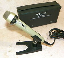 Vintage TEAC MC-108 Dynamic Cardioid Microphone Japan Mic w/Stand & Case TESTED