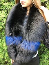 Silver Fox Fur Stole ~60 inch Boa Saga Furs Dyed Black Silver Fox Fur Blue Spots