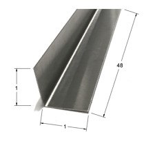 1 x 1 x 48 Stainless Steel Inside Corner Guards, 90 Degree Angles 20ga, (5 Pack)