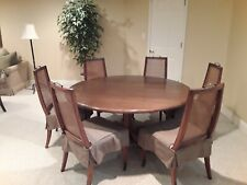 Walnut Round Conference Table 6 High Quality Cane Backed Chairs with slipcovers