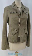 Authentic DIESEL military light coat zip jacket moto army green shabby SZ M $298