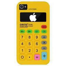 NEW YELLOW CALCULATOR STYLE SILICONE SOFT SKIN CASE COVER FOR APPLE IPHONE 4 4S