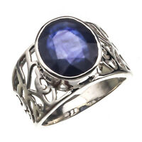 925 Sterling Silver Handmade Blue Sapphire Natural Certified 5.00 carat Ring