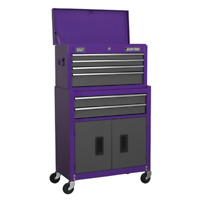 Topchest & Rollcab Combination 6 Drawer with Ball Bearing Slides - Purple/Grey