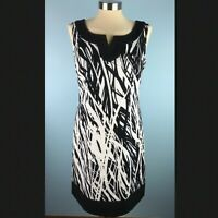 Jessica Howard Womens 8 Sleeveless Sheath Dress Black White