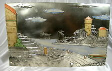 ANTIQUE LARGE ITALIAN HARBOR CASTLE SCENE STERLING SILVER PLATED PLAQUE