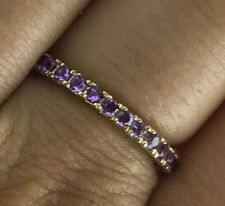 s R122 Genuine 9K Yellow Gold NATURAL Amethyst Full Eternity Ring size 6 / L 1/2