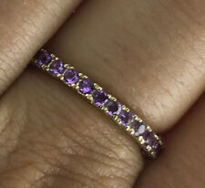 s R122 Genuine 9K Yellow Gold NATURAL Amethyst Full Eternity Ring size Q / 8.25