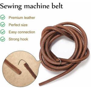 "72"" 183cm Leather Belt Antique Treadle Parts + Hook For Singer Sewing Machine"