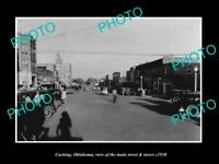 OLD LARGE HISTORIC PHOTO OF CUSHING OKLAHOMA, THE MAIN STREET & STORES c1930
