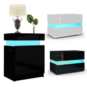 Chest of Drawer LED Bedside Table Cabinet Nightstand Home Bedroom High Gloss RGB