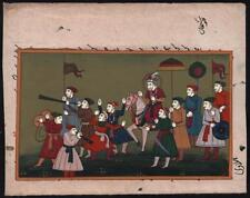 INDIAN MUGHAL STYLE Gouache Miniature Painting PROCESSIONAL SCENE 20TH CENTURY