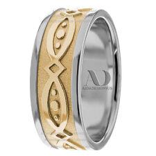 10K Gold Two Tone 8mm Wide Modern Design Men's Celtic Wedding Band Ring