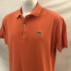 LACOSTE Men's Short Sleeve Polo Shirt XL FR6 Orange Logo 100% Cotton