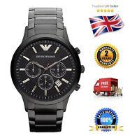 NEW Emporio Armani AR2453 Men's Black Stainless Steel Chronograph Quartz Watch