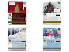4 NEW - NEVER USED - 2013 & 2014 Christmas Tree & Snowman Starbucks Cards