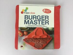 Burger Master Silicone Press & Freeze Container 8 In 1 Shape+Store Made Canada
