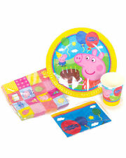 Peppa Pig Party Supplies Party Pack 40, 8 Plates,Cup,Lootbags, 16 Napkins