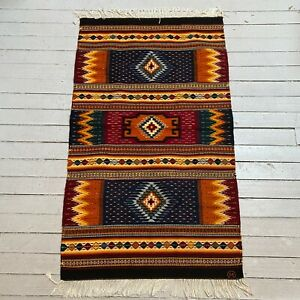 ARNULFO MENDOZA Hand Woven Oaxacan Geometric Glyph Tapestry Rug 29 x 51