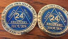 Blemished 24 Hours AA Medallion Blue Gold Plated Sobriety Chip Coin