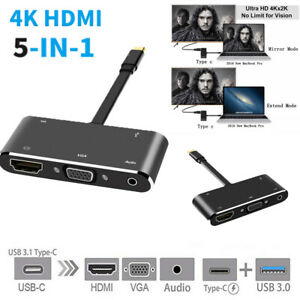 Portable 5 In 1 USB-C to HDMI 4K Type-C Docking Station USB 3.1 Audio Adapter