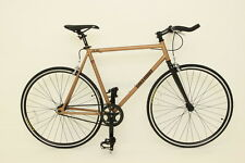 BRAND NEW FIXED GEAR BIKE SINGLE SPEED FREE WHEEL-FIXIE ROAD BIKE -10.5 KG GOLD