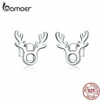 BAMOER Smooth Women S925 Sterling Silver Stud Earrings Fashion Gift Jewelry