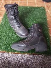 Women's Harley Davidson Black Leather Combat Boots Lace Zip Up Moto Boots Sz 7.5