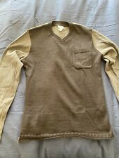dries van noten Brown Cotton 2 Tone (size L) Vneck Sweater