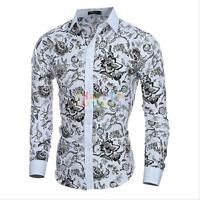 Fashion Men's Luxury Floral Dress Shirts Slim Fit Casual Shirt Long Sleeve Tops