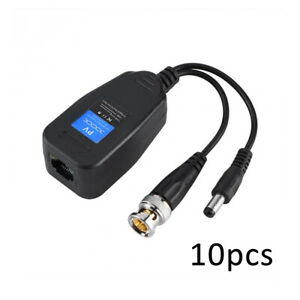 10x CCTV Coax BNC Video Adapter Transceiver to CAT5e 6 RJ45 Balun Connector Top