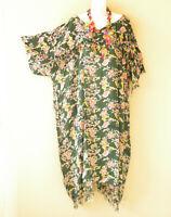 KB345 Green Batik Floral VNeck Kimono Abaya Hippy Women Maxi Dress - up to 5X