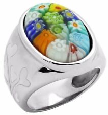 ALAN K. MULTICOLOR MURANO GLASS OVAL SHAPED RING FLORAL ACCENTS & ST/SILVER RING