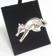Brooch 925 Unusual Abstract Cat Animal Silver Jewellery 16g Ladies Gift