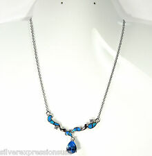 Blue Topaz & Blue Fire Opal Inlay 925 Sterling Silver Necklace 18''-19.5''