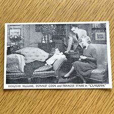 1941 CLAUDIA Dorothy McGuire, Donald Cook & Frances Starr BROADWAY PLAY postcard