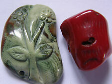 2 Fine Coral Beads, Carved Green-Brown Flower/Red Branch.  Jewellery Making/Bead