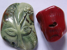 2 Fine Natural Coral Beads, Green/Brown/Red, Flower/Branch Jewellery Making/Bead
